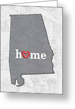 State Map Outline Alabama With Heart In Home Greeting Card