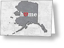 State Map Outline Alaska With Heart In Home Greeting Card