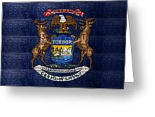 State Of Michigan Flag Recycled Vintage License Plate Art Version 1 Greeting Card by Design Turnpike