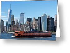 Staten Islan Ferry With Nyc Skyline Greeting Card