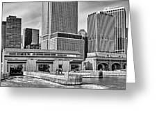 Staten Island Ferry Docks In B And W Greeting Card
