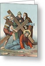 Station Ix Jesus Falls Under The Cross The Third Time Greeting Card