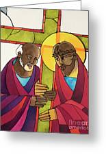 Stations Of The Cross - 05 Simon Helps Jesus Carry The Cross - Mmshj Greeting Card