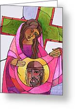 Stations Of The Cross - 06 St. Veronica Wipes The Face Of Jesus - Mmvew Greeting Card