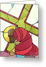Stations Of The Cross - 07 Jesus Falls A Second Time - Mmjti Greeting Card