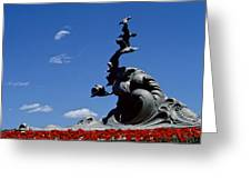 Statue And Tulips Against A Clear Blue Greeting Card