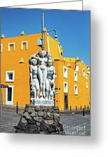 Statue And Yellow Theater Greeting Card