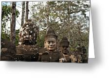 Statue Heads Ankor Thom Greeting Card