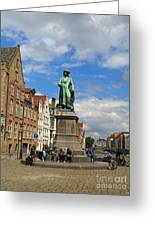 Statue Of Jan Van Eyck Beside The Spieglerei Canal In Bruges Greeting Card