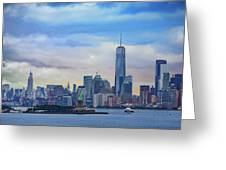 Statue Of Liberty And Manhattan Greeting Card
