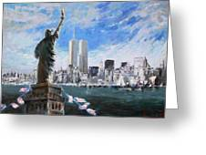 Statue Of Liberty And Tween Towers Greeting Card
