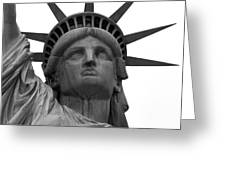 Statue Of Liberty B/w Greeting Card by Lorena Mahoney