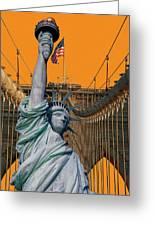Statue Of Liberty - Brooklyn Bridge Greeting Card