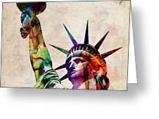 Statue of Liberty Greeting Card by Michael Tompsett