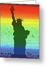 Statue Of Liberty Rainbow Greeting Card