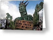 Statue Of Liberty Street Puppet At Political Demonstration Greeting Card