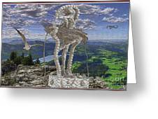 Statue On The Rocks  Greeting Card
