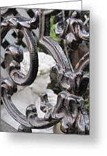 Statue Through A French Quarter Gate Greeting Card