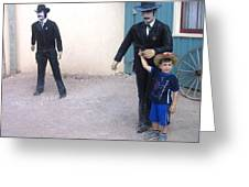 Statues Depicting Shooters In O.k. Corral Gunfight Tombstone Arizona 2004 Greeting Card