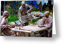 Statues Of After Noon Tea Greeting Card
