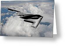 Stealth Bomber Over The Clouds Greeting Card