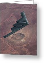 Stealth Over The Arizona Meteor Crater Greeting Card