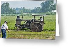 Steam Engine Plowing Greeting Card