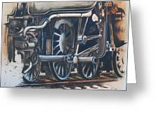 Steam Engine Wheels Greeting Card