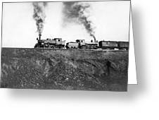 Steam Engines Pulling A Train Greeting Card