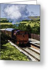 Steam Train 2 Oil Painting Effect Greeting Card