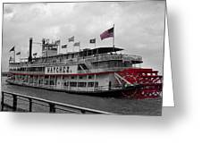 Steamboat Natchez Black And White Greeting Card