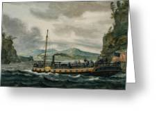 Steamboat Travel On The Hudson River Greeting Card