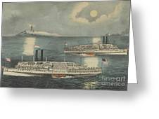 Steamboats Passing At Midnight On Long Island Sound Greeting Card