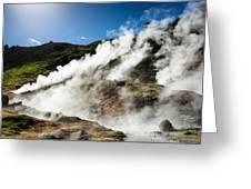 Steaming Hot Springs In Reykjadalur Iceland Greeting Card