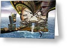 Steampunk Dragon Library Greeting Card
