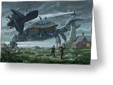 Steampunk Giant Crab Attacks Lighthouse Greeting Card