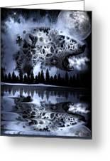 Steampunk Polar Bear Landscape Greeting Card