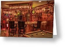 Steampunk Speakeasy Mancave Bar Art Greeting Card
