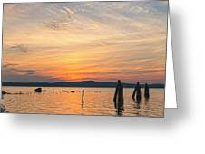 Steamy Hudson River Sunrise Greeting Card