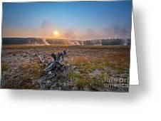 Steamy Sunrise In Yellowstone Greeting Card