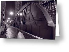 Steel Bridge Chicago Black And White Greeting Card