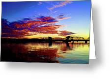 Steel Bridge Sunset Silhouette Greeting Card
