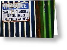 Steel City--safety Glasses Greeting Card