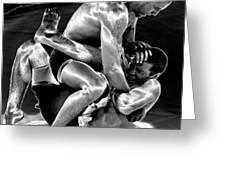 Steel Men Fighting 5 Greeting Card