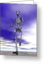 Steel Running Skeleton On Wet Sand Greeting Card