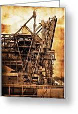 Steelmill Boatdock Cranes Detroit Greeting Card
