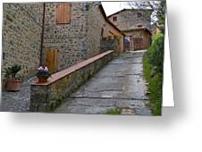 Steep Street In Montalcino Italy Greeting Card