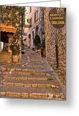 Steep Street In St Paul De Vence Greeting Card