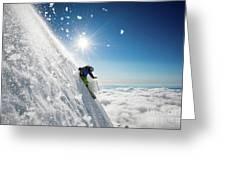 Steep Summer Volcano Skiing Greeting Card