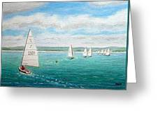 'steer The Course' - West Kirby Marine Lake, Wirral Greeting Card